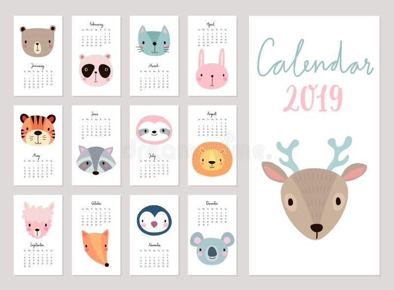Kalendarz 2019 Śliczny miesięcznika kalendarz z zwierzętami charaktery rysująca ręka ilustracja wektor
