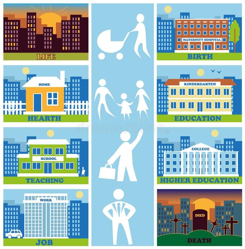 Kalendarz życie i budynek ilustracja wektor