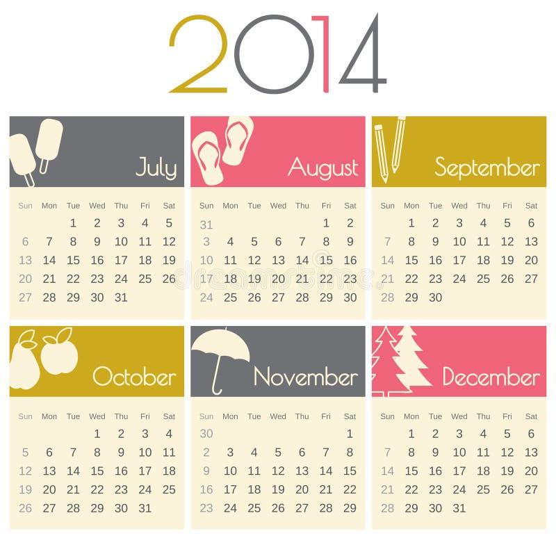 2014 kalendarz ilustracja wektor
