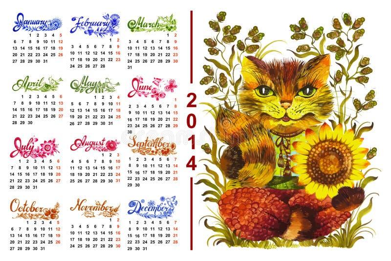 Kalendarz 2014 ilustracja wektor