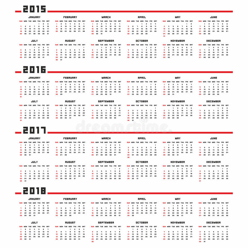 Kalendarz 2015, 2016, 2017, 2018 ilustracja wektor