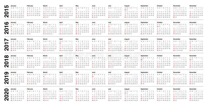 Kalendarz 2015 2016 2017 2018 2019 2020 ilustracja wektor
