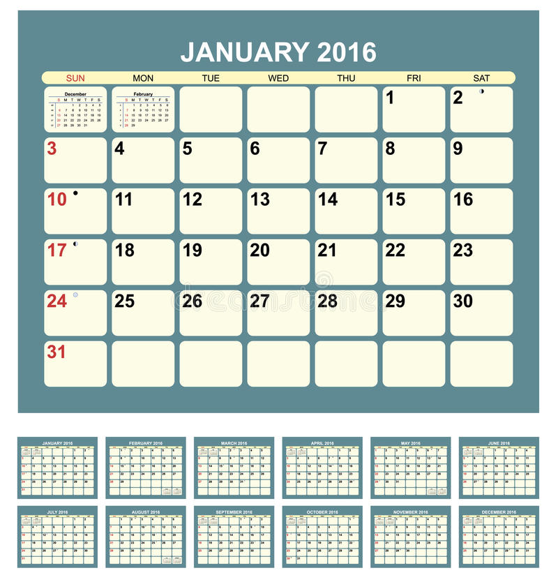 Kalendarz 2016 ilustracji