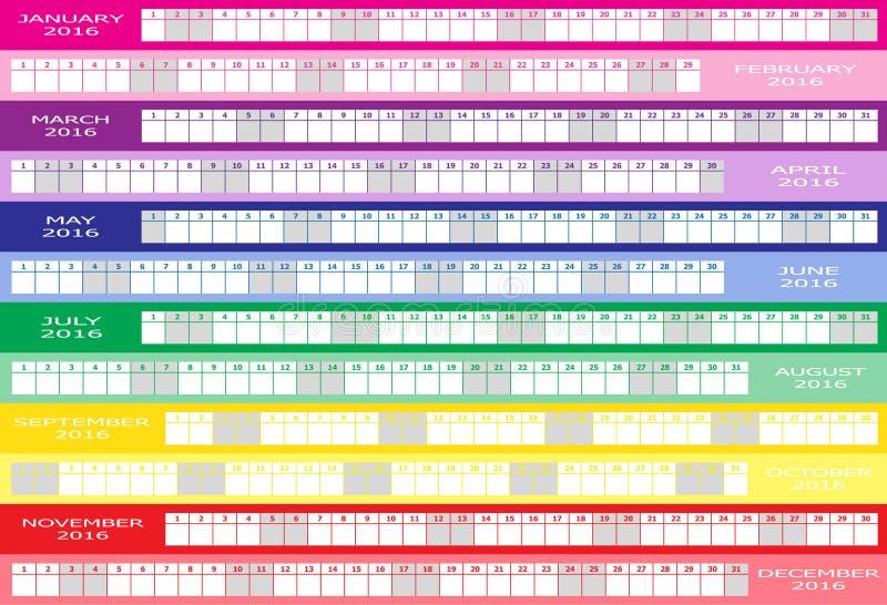 Kalendarz 2016 royalty ilustracja