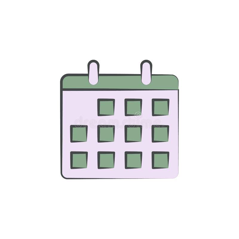 Kalendarz barwiąca ręka rysująca ikona Element jesieni ikona dla mobilnych pojęcia i sieci apps Ręka rysujący barwiący kalendarz  ilustracji