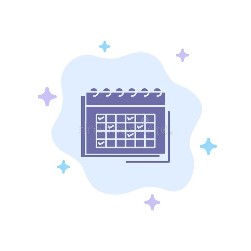Kalendarz, biznes, data, wydarzenie, planowanie, rozkład, rozkład zajęć Błękitna ikona na abstrakt chmury tle royalty ilustracja