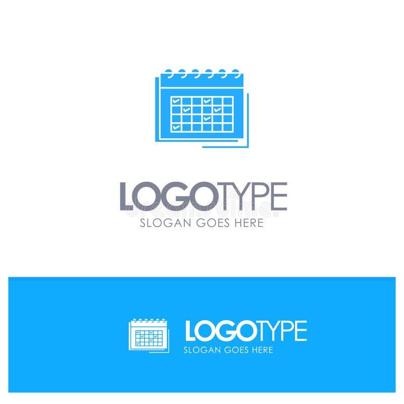 Kalendarz, biznes, data, wydarzenie, planowanie, rozkład, rozkład zajęć Błękitny Stały logo z miejscem dla tagline ilustracja wektor