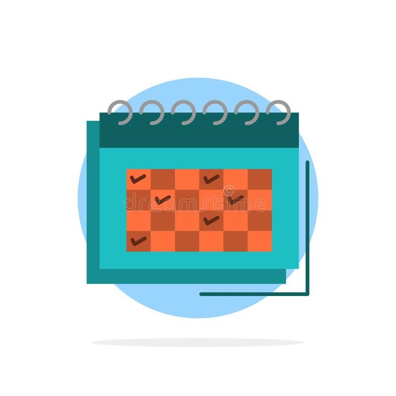 Kalendarz, biznes, data, wydarzenie, planowanie, rozkład, rozkład zajęć okręgu Abstrakcjonistycznego tła koloru Płaska ikona royalty ilustracja