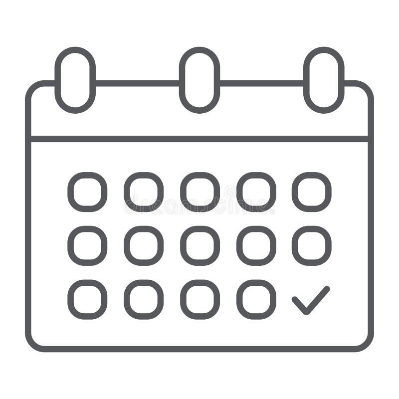 Kalendarz cienka kreskowa ikona, data i rozkład, przypomnienie znak, wektorowe grafika, liniowy wzór na białym tle royalty ilustracja