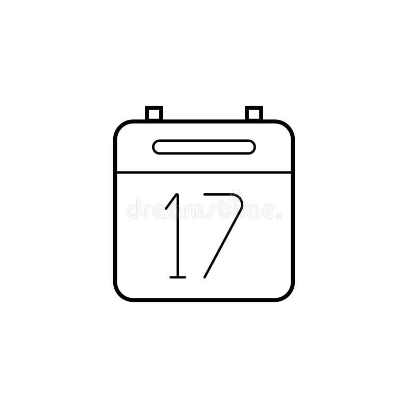 Kalendarz cienka kreskowa ikona, konturu wektoru logo ilustracji