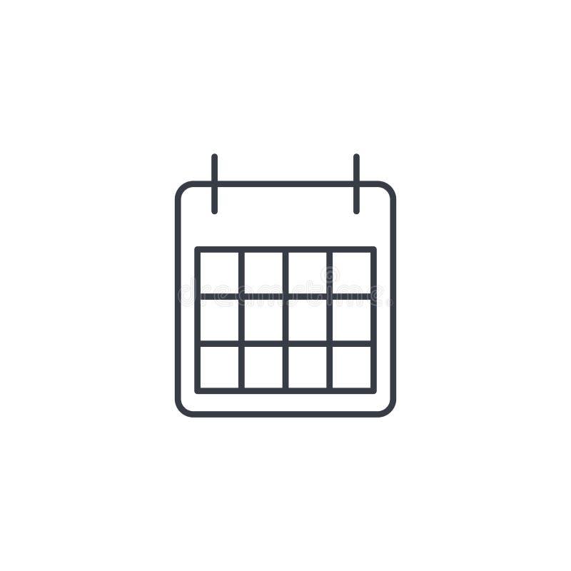 Kalendarz cienka kreskowa ikona Liniowy wektorowy symbol ilustracja wektor