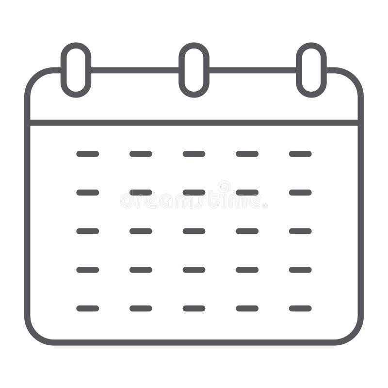 Kalendarz cienka kreskowa ikona, przypomnienie i data, rozkładu znak, wektorowe grafika, liniowy wzór na białym tle royalty ilustracja