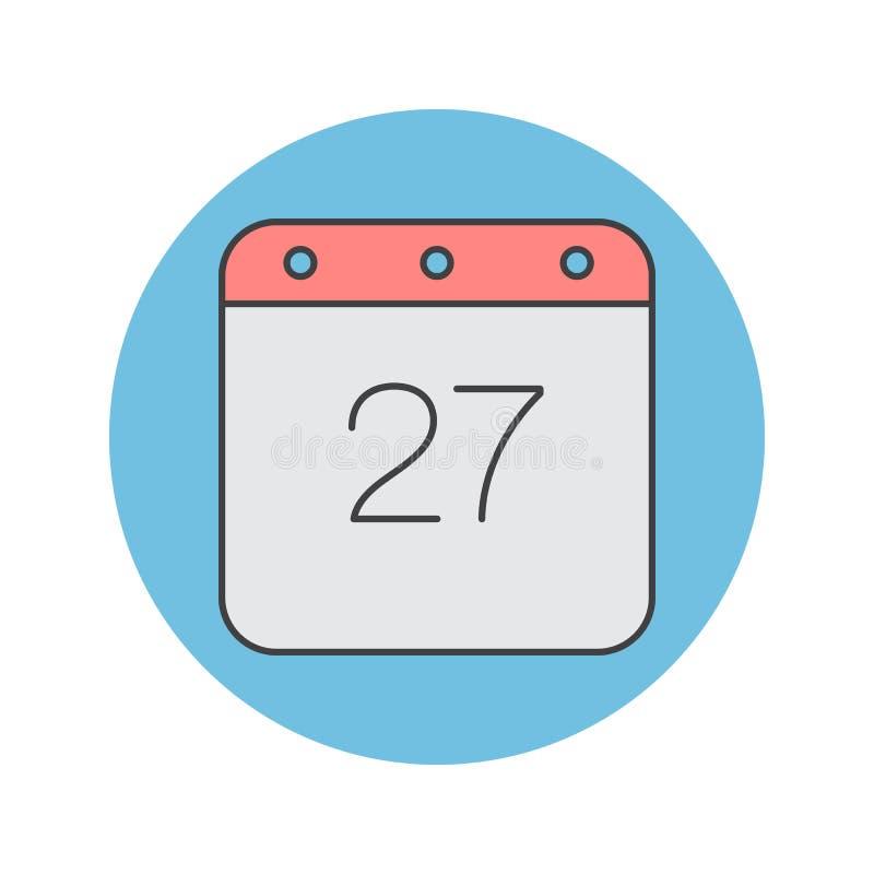 Kalendarz cienka kreskowa ikona, wypełniająca konturu loga wektorowa ilustracja ilustracja wektor