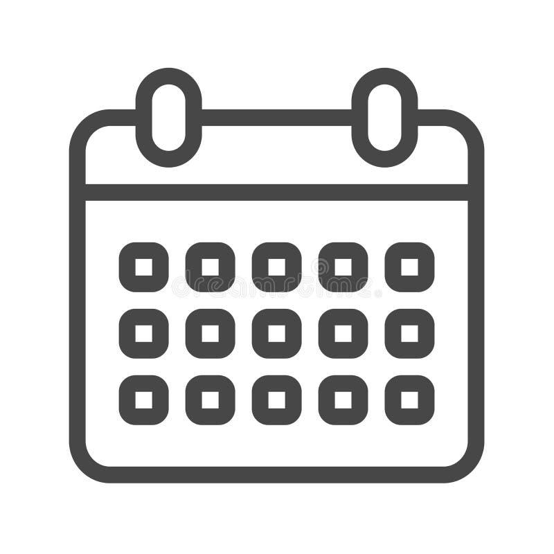 Kalendarz cienka kreskowa wektorowa ikona royalty ilustracja