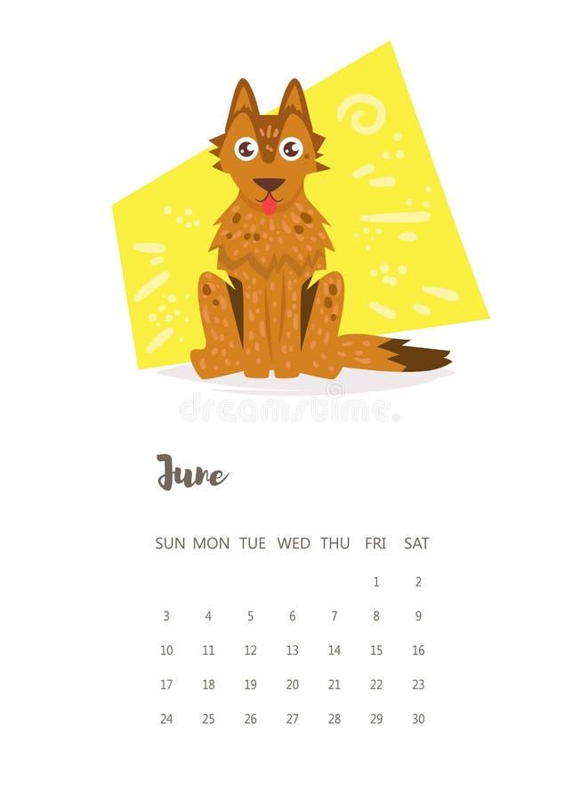 Kalendarz 2018 Czerwiec wektor royalty ilustracja