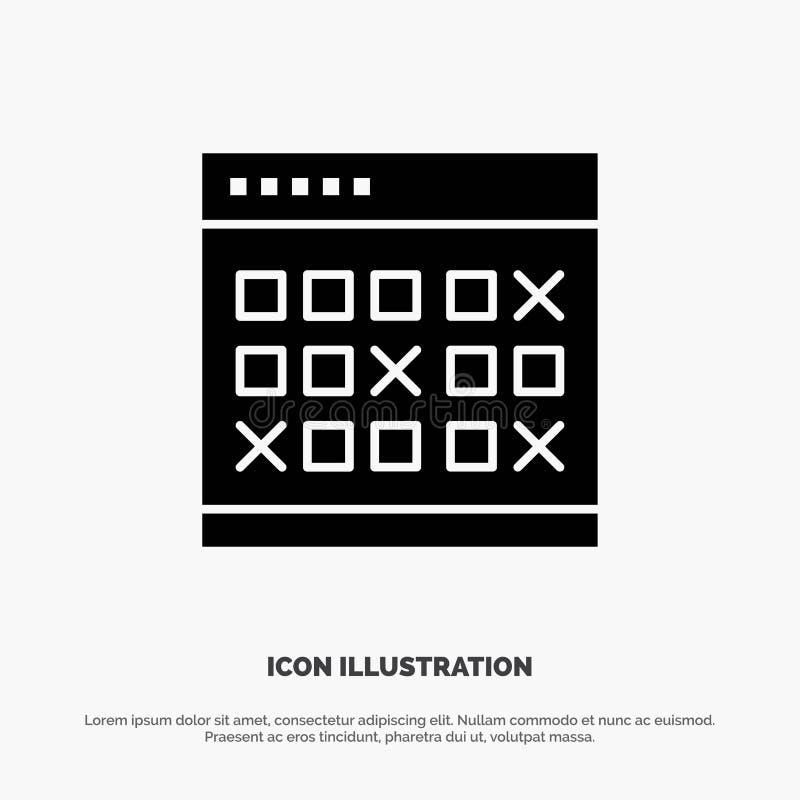 Kalendarz, data, wydarzenie, wydarzenia, miesiąc, rozkład, rozkład zajęć glifu ikony stały wektor royalty ilustracja