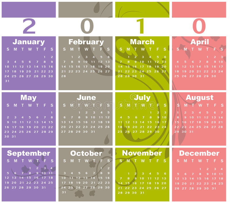 Kalendarz dla 2010 ilustracja wektor