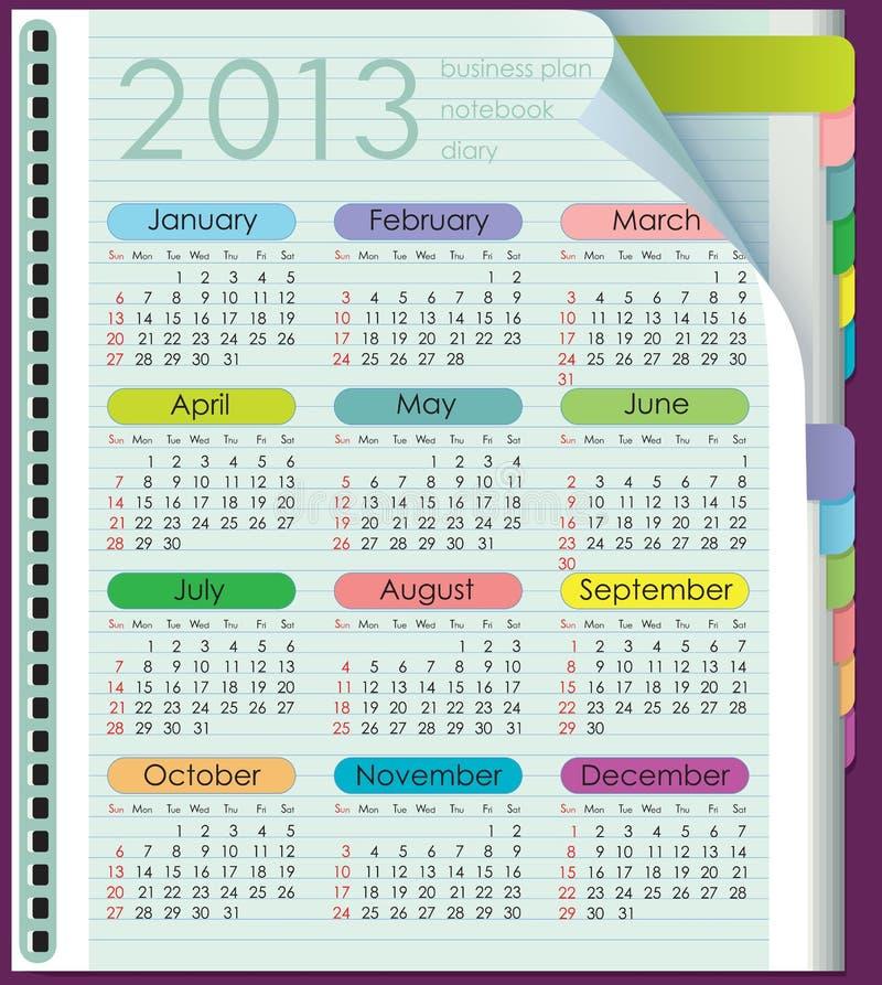 Kalendarz dla 2013. Tygodni początki na Niedziela ilustracja wektor