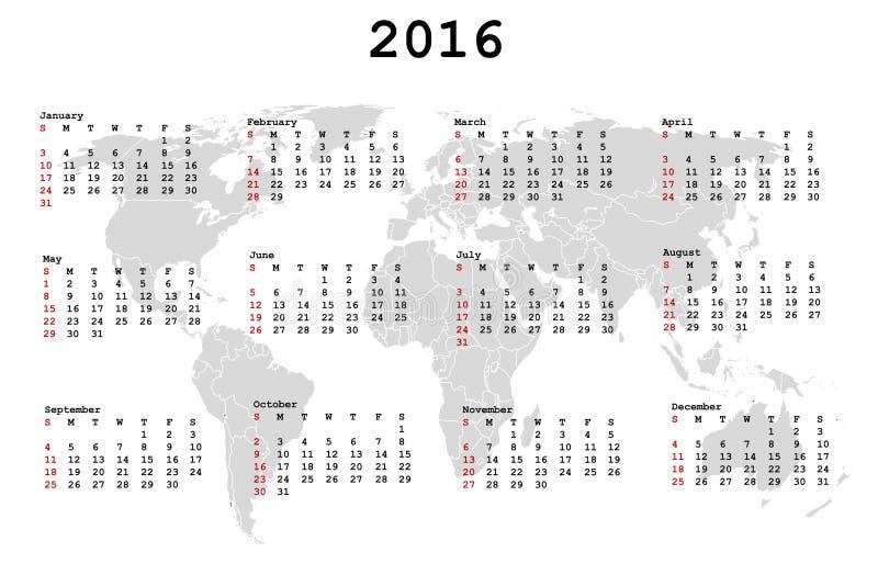 2016 kalendarz dla agendy z światową mapą ilustracja wektor