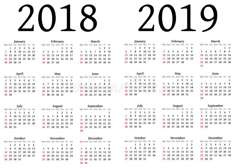 Kalendarz dla 2018 i 2019 ilustracja wektor