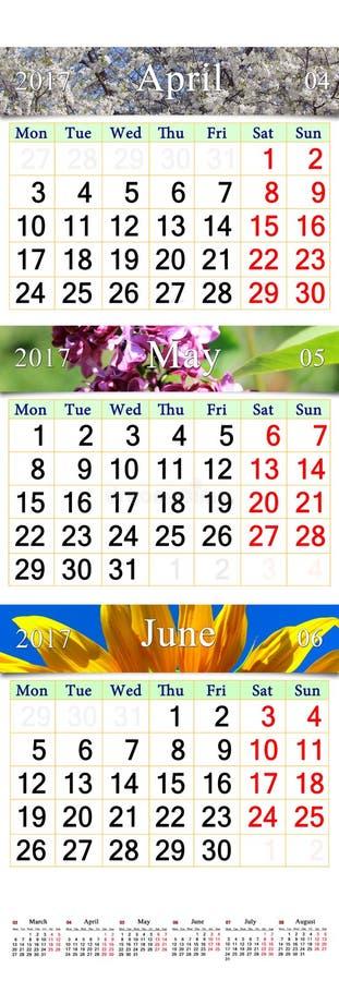 Kalendarz dla Kwietnia Czerwiec 2017 z naturalnymi obrazkami royalty ilustracja