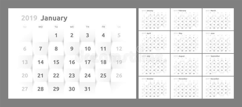 Kalendarz dla 2019 nowy rok printable 3d papier