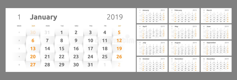Kalendarz dla 2019 nowy rok printable 3d papier royalty ilustracja