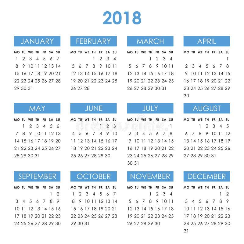 Kalendarz dla 2018 rok ilustracja wektor