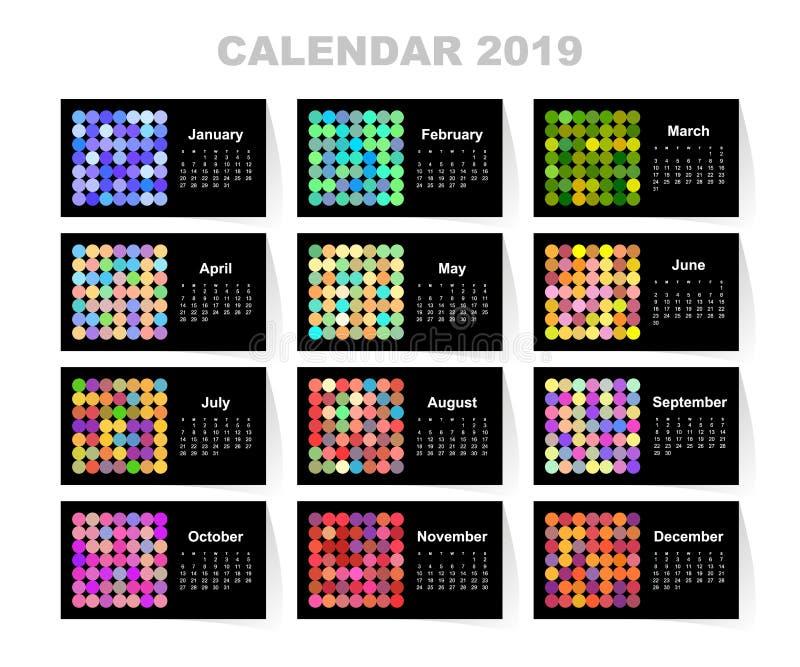 Kalendarz dla 2019 rok Kolorowy wektoru set Na Niedziela tydzień początek projekta pożarniczy notatnika szablonu pisać twój ilustracja wektor