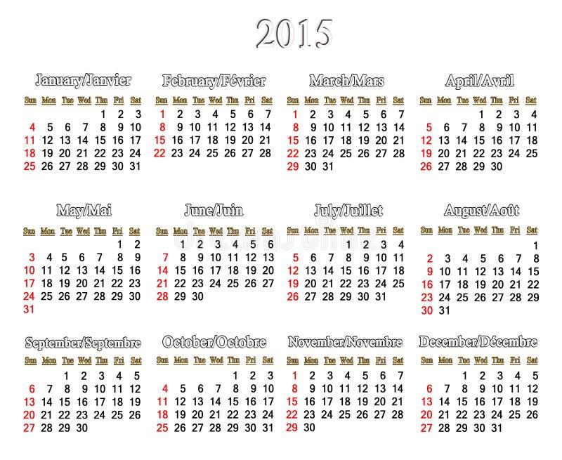 Kalendarz dla 2015 rok w Angielskim i Francuskim royalty ilustracja