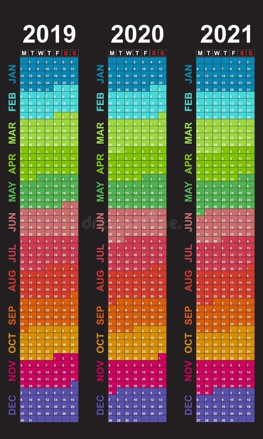 Kalendarz dla 2019 Tygodni początki na Poniedziałku Kolorowi kolory miesiącem royalty ilustracja