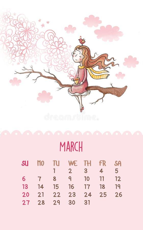 Kalendarz dla 2016 z ślicznymi ilustracjami ręką royalty ilustracja