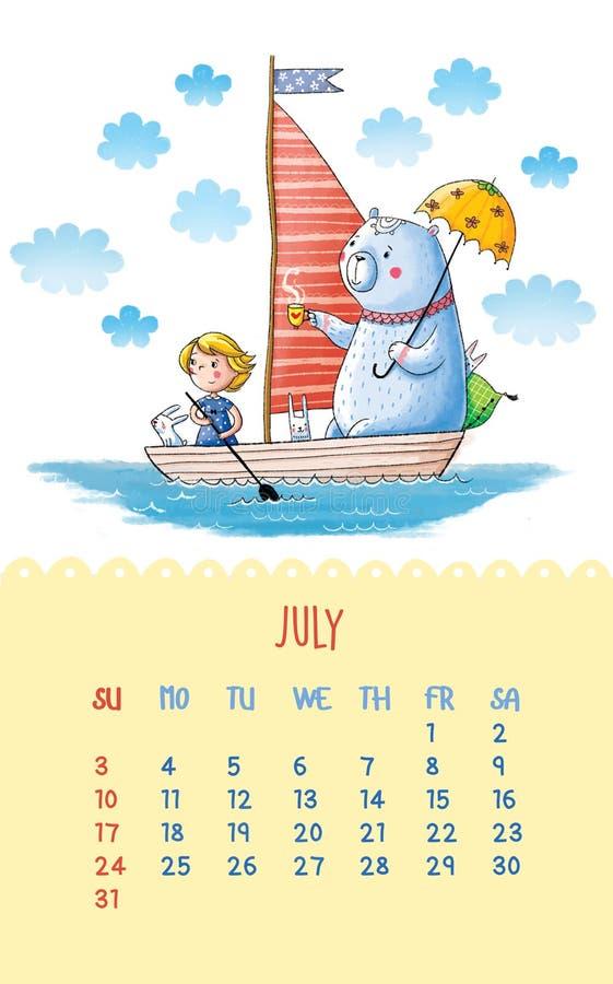 Kalendarz dla 2016 z ślicznymi ilustracjami ręką ilustracji