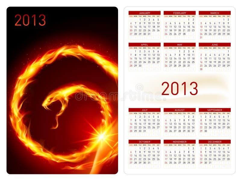 Kalendarz dwadzieścia trzynaście. Pożarniczy wąż ilustracja wektor
