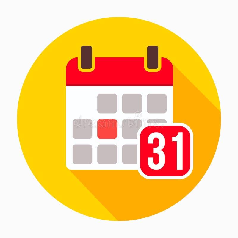 Kalendarz 31 Grudzień ikony wektor, wypełniający mieszkanie znak, stały piktogram odizolowywający na bielu Wakacyjny daktylowy i  ilustracja wektor