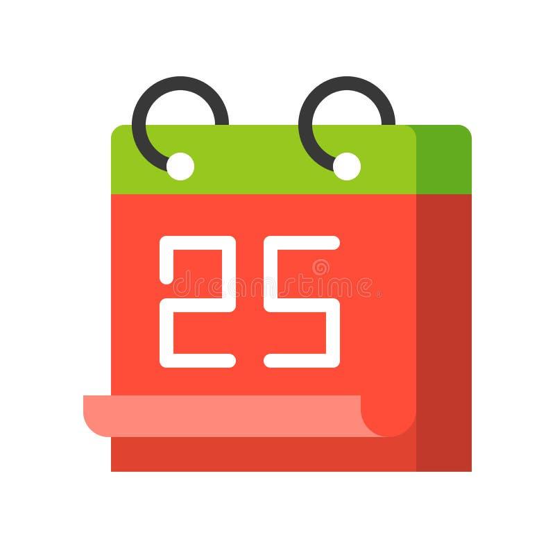 Kalendarz 25 Grudzień, Wesoło bożych narodzeń ikony set, płaski projekt ilustracji