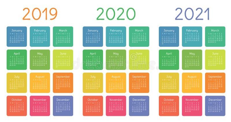 Kalendarz 2019, 2020 i 2021, set Na Niedziela tydzień początek Podstawowa siatka ilustracji
