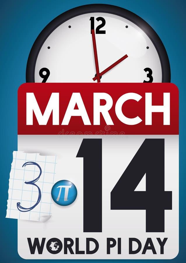 Kalendarz i zegar Promuje czas Świętować Pi dzień, Wektorowa ilustracja ilustracji