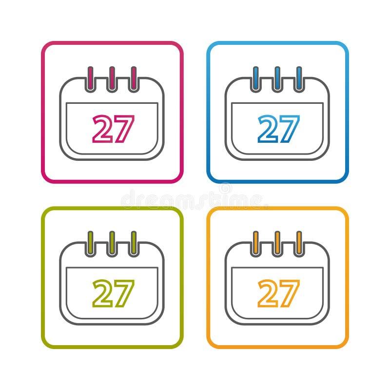 Kalendarz - kontur Projektująca ikona - Editable uderzenie - Kolorowa Wektorowa ilustracja - Odizolowywający Na Białym tle royalty ilustracja