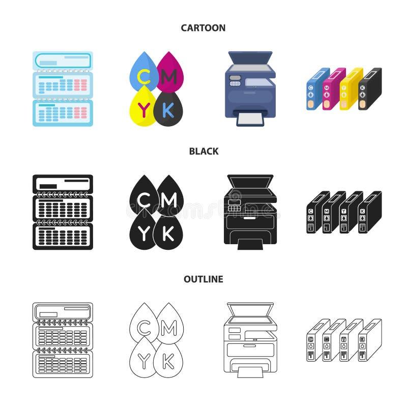 Kalendarz, krople farba, ładownica, multifunction drukarka Typografii ustalone inkasowe ikony w kreskówce, czerń, kontur royalty ilustracja