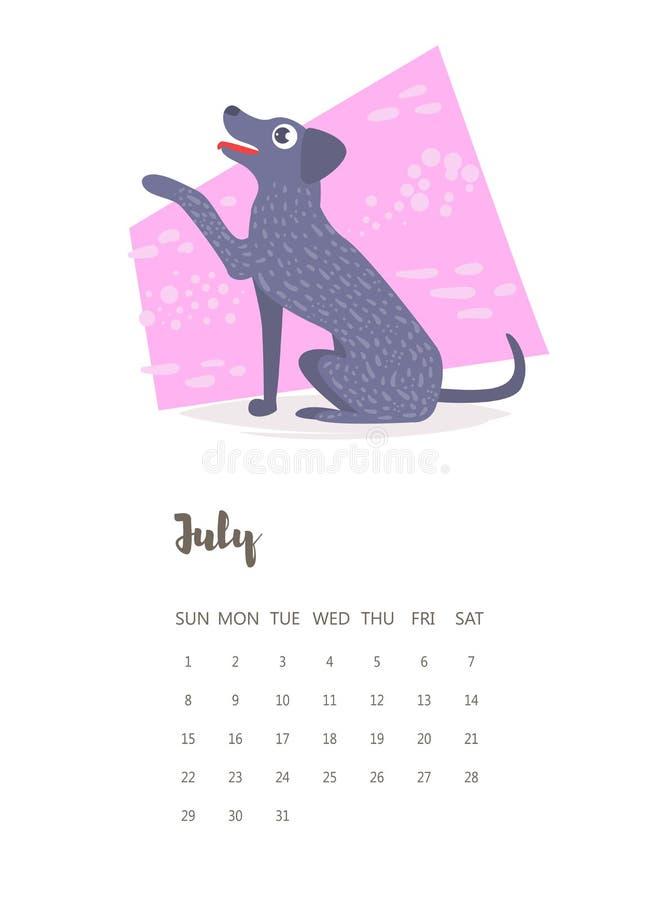 Kalendarz 2018 Lipiec wektor kreskówka ilustracji
