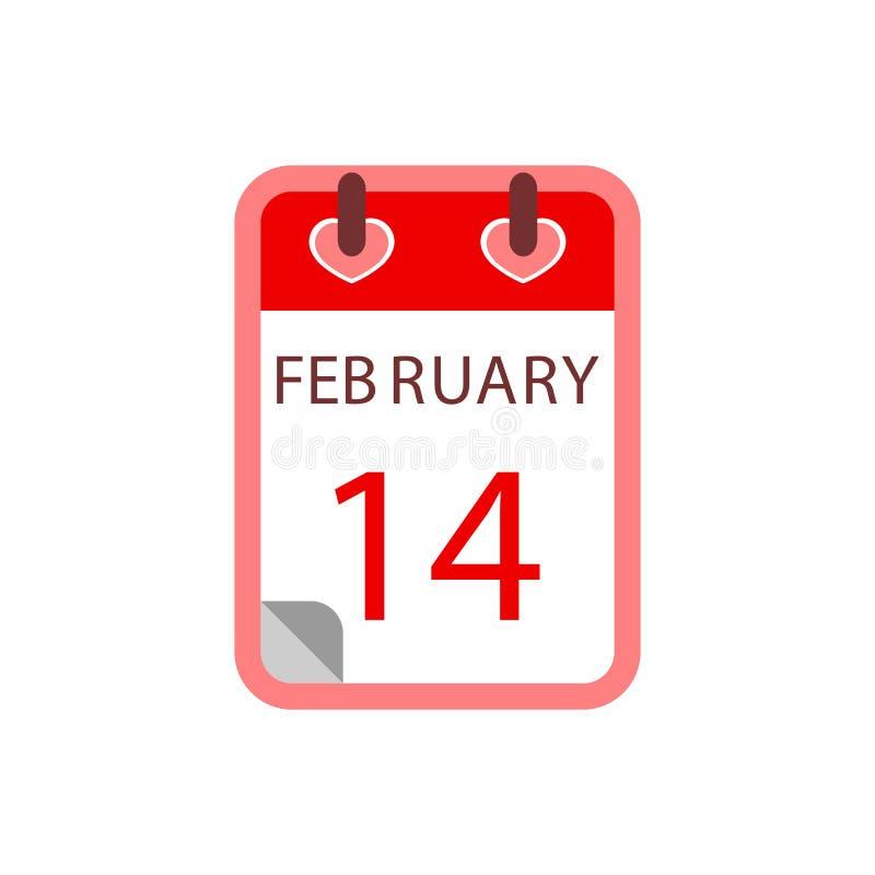 Kalendarz 14 Luty czerwona róża Płaski ikona wektor ilustracja wektor