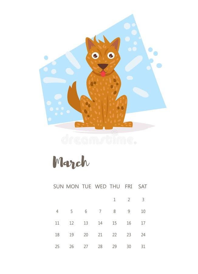 Kalendarz 2018 Marzec wektor kreskówka ilustracja wektor