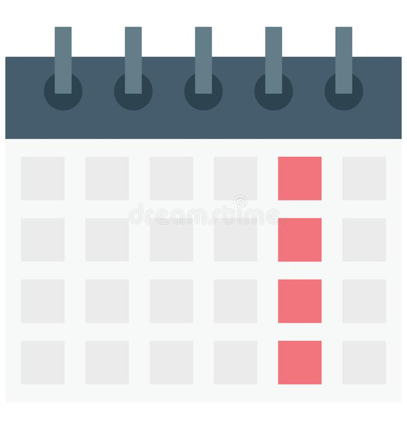 kalendarz, medyczny rozkład, Odosobniona Wektorowa ikona która może łatwo redagować lub modyfikująca ilustracja wektor