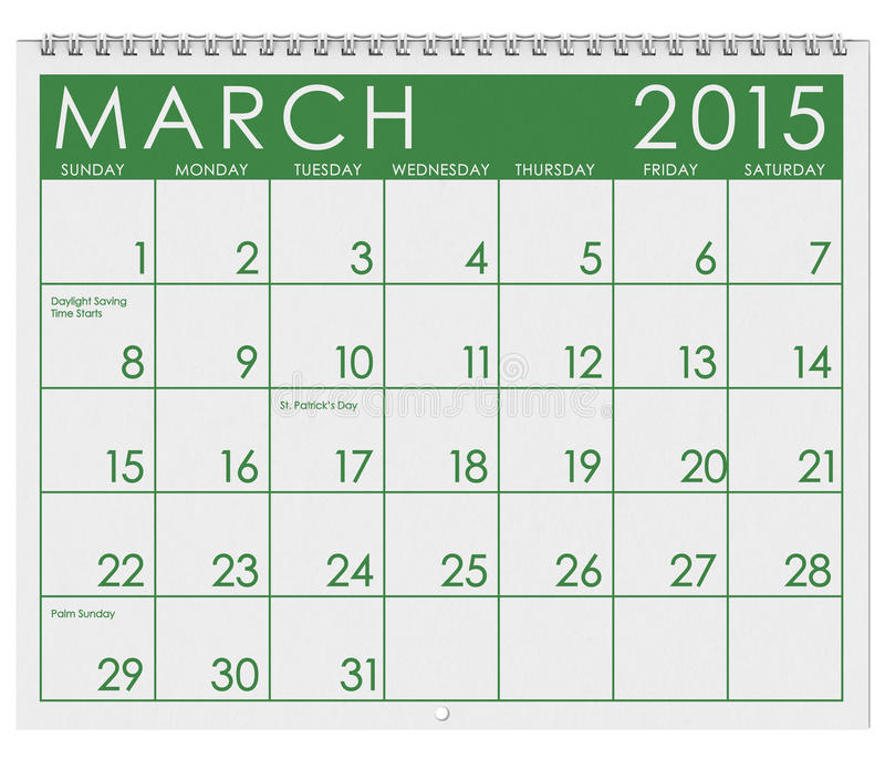 2015 kalendarz: Miesiąc Marzec ilustracji