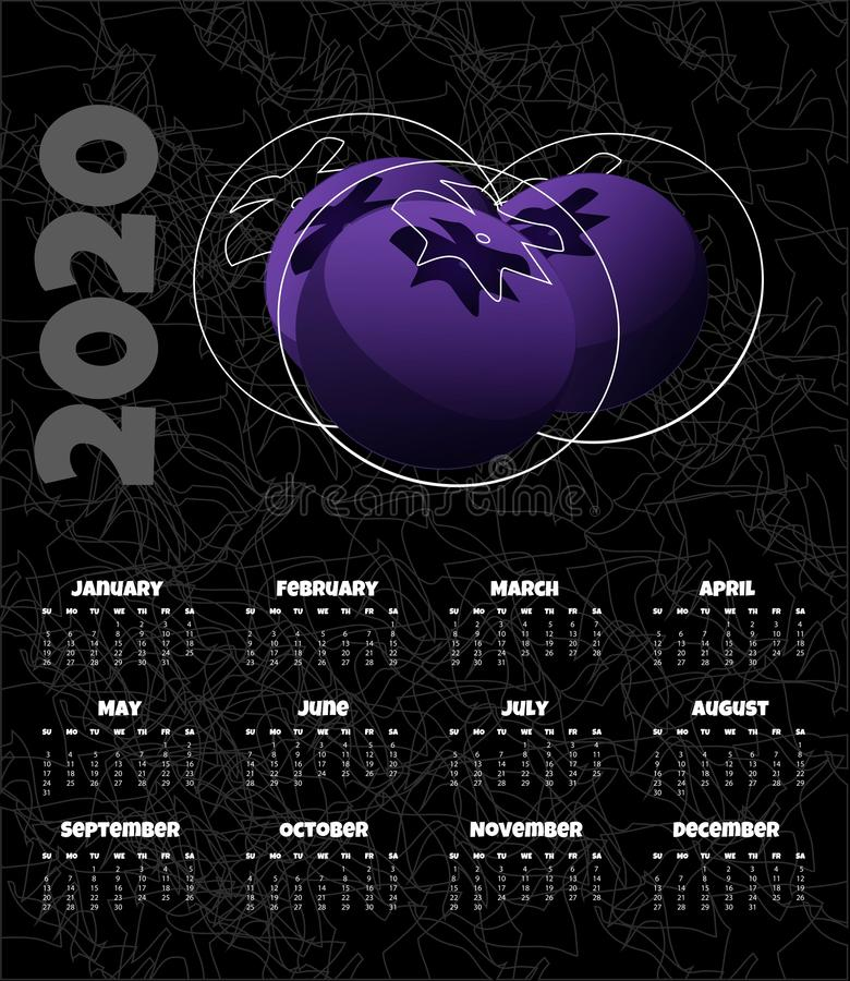 Kalendarz 2020 Miesięcznika kalendarz z czarnymi jagodami r?wnie? zwr?ci? corel ilustracji wektora royalty ilustracja