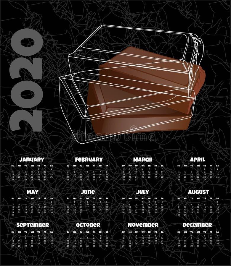 Kalendarz 2020 Miesięcznika kalendarz z czekoladą r?wnie? zwr?ci? corel ilustracji wektora ilustracja wektor