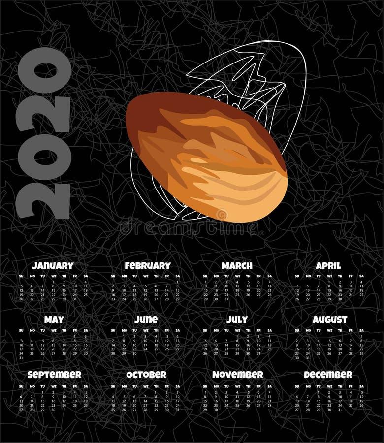 Kalendarz 2020 Miesięcznika kalendarz z dokrętką r?wnie? zwr?ci? corel ilustracji wektora ilustracja wektor