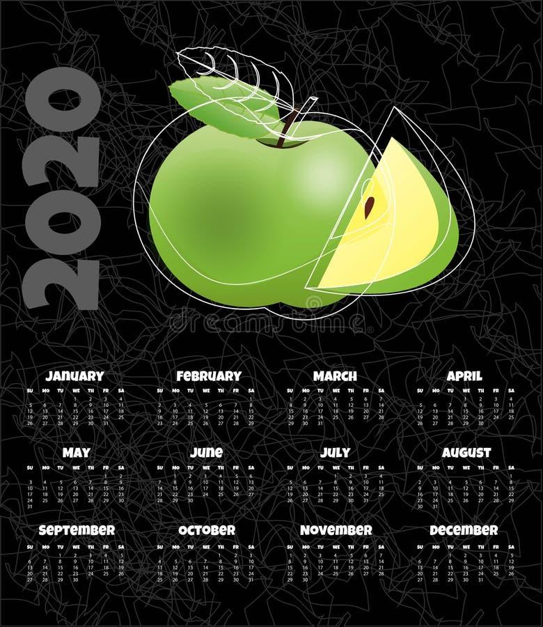 Kalendarz 2020 Miesięcznika kalendarz z jabłkiem r?wnie? zwr?ci? corel ilustracji wektora ilustracji