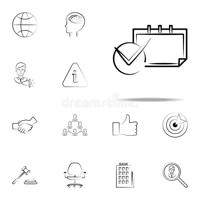 kalendarz, ostateczny termin ręka rysująca ikona Biznesowy ikony ogólnoludzki ustawiający dla sieci i wiszącej ozdoby royalty ilustracja